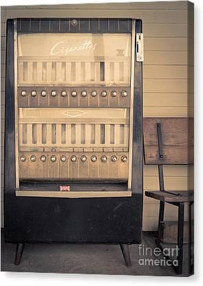 Vintage Cigarette Machine Canvas Print by Edward Fielding