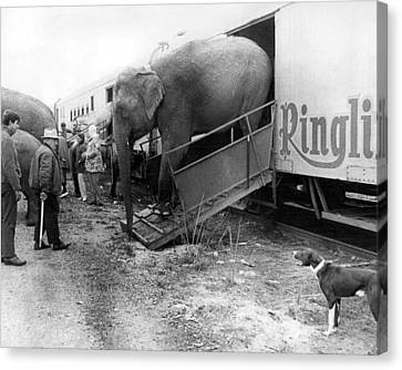 Vintage Circus Elephant Unloading Canvas Print by Retro Images Archive