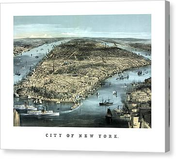 Vintage City Of New York Canvas Print by War Is Hell Store