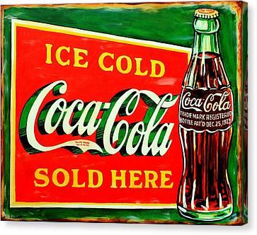 Vintage Coca-cola Sign Canvas Print by Karl Wagner