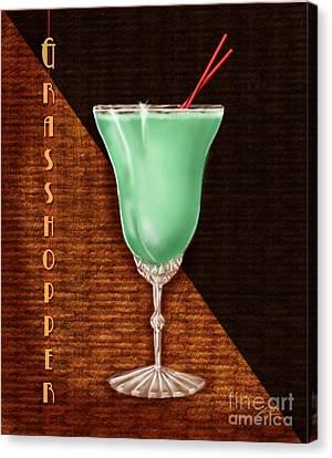 Vintage Cocktails-grasshopper Canvas Print by Shari Warren