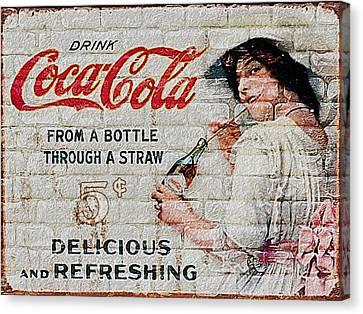 Vintage Coke Sign Canvas Print by Jack Zulli