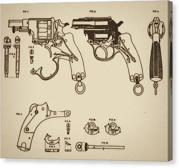 Vintage Colt Revolver Drawing Canvas Print by Nenad Cerovic