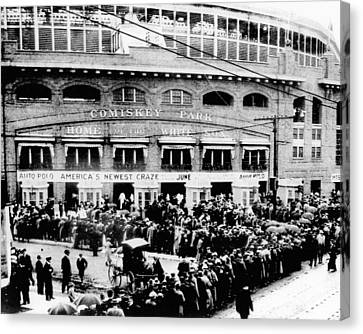 Vintage Comiskey Park - Historical Chicago White Sox Black White Picture Canvas Print by Horsch Gallery