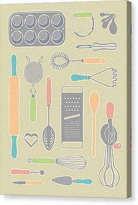 Vintage Cooking Utensils With Pastel Colors Canvas Print by Mitch Frey