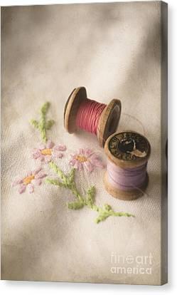 Vintage Cotton Reels Canvas Print by Jan Bickerton