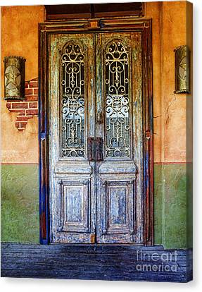 vintage door in Hico TX Canvas Print by Elena Nosyreva