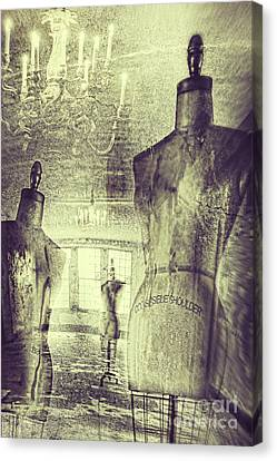Vintage Dressforms With Abstract Grunge Background Canvas Print by Sandra Cunningham