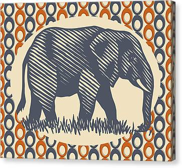 Vintage Elephant Orange Gray Canvas Print by Flo Karp