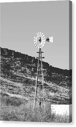 Vintage Farm Windmill Canvas Print by Christine Till