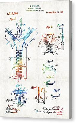 Vintage Fashion Art - Zipper Patent - By Sharon Cummings Canvas Print by Sharon Cummings