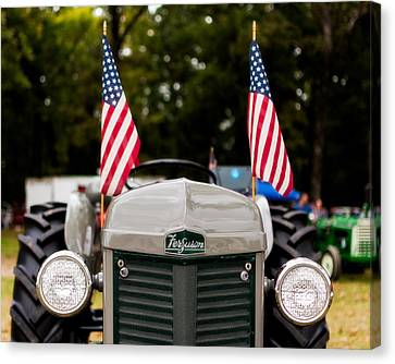 Vintage Ferguson Tractor With American Flags Canvas Print by Jon Woodhams