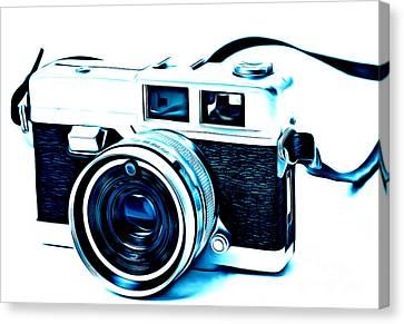 Vintage Film Slr Camera Blue Canvas Print by Edward Fielding