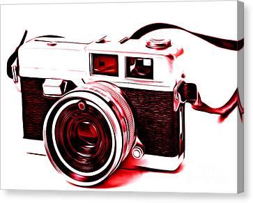 Vintage Film Slr Camera Red Canvas Print by Edward Fielding
