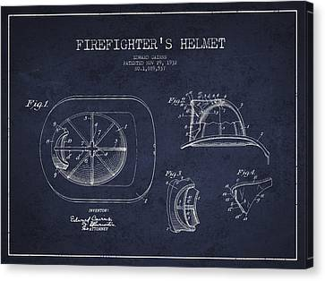 Vintage Firefighter Helmet Patent Drawing From 1932 - Navy Blue Canvas Print by Aged Pixel