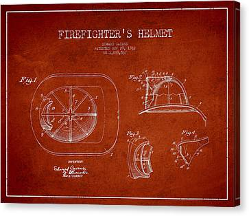 Vintage Firefighter Helmet Patent Drawing From 1932-red Canvas Print by Aged Pixel