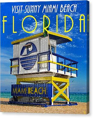 Vintage Florida Travel Style Artwork Canvas Print by David Lee Thompson