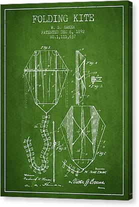 Vintage Folding Kite Patent From 1892 - Green Canvas Print by Aged Pixel