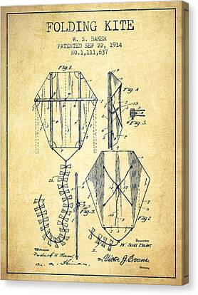 Vintage Folding Kite Patent From 1914 -vintage Canvas Print by Aged Pixel