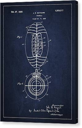 Vintage Football Patent Drawing From 1923 Canvas Print by Aged Pixel