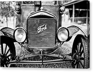 Vintage Ford In Black And White Canvas Print by Colleen Kammerer