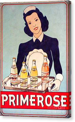 Vintage French Tin Sign Primerose Canvas Print by Olivier Le Queinec