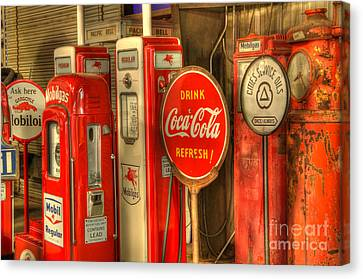 Vintage Gasoline Pumps With Coca Cola Sign Canvas Print by Bob Christopher