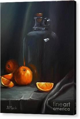 Vintage Glass Jug And  Oranges Canvas Print by Viktoria K Majestic