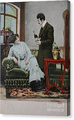 Vintage Handtinted Postcard Of 1904 Of Two Lovers Canvas Print by Patricia Hofmeester