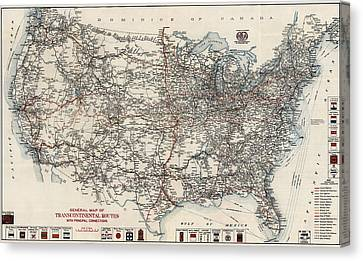 Vintage Highway Map Of The United States By The American Automobile Association - 1918 Canvas Print by Blue Monocle