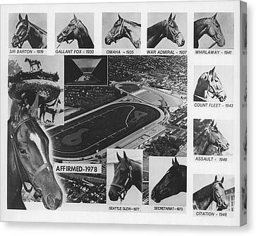 Vintage Horse Racing Head Shots Seattle Slew Canvas Print by Retro Images Archive