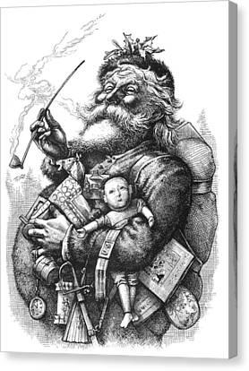 Vintage Illustration Of Santa Claus  Canvas Print by Tracey Harrington-Simpson
