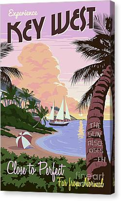 Vintage Key West Travel Poster Canvas Print by Jon Neidert