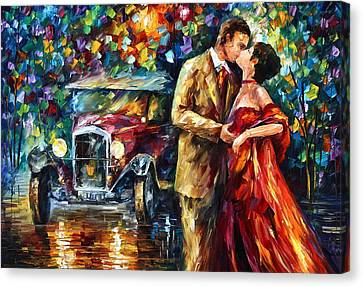 Vintage Kiss Canvas Print by Leonid Afremov