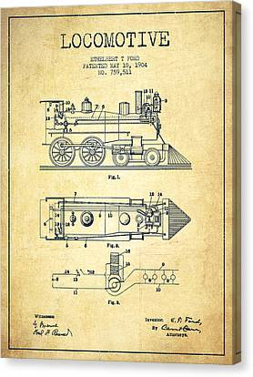 Vintage Locomotive Patent From 1904 - Vintage Canvas Print by Aged Pixel