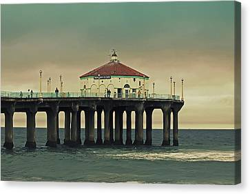Vintage Manhattan Beach Pier Canvas Print by Kim Hojnacki