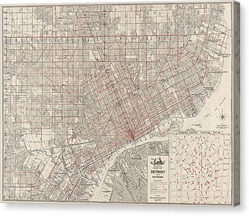 Vintage Map Of Detroit Michigan From 1947 Canvas Print by Blue Monocle