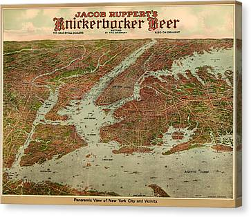Vintage Map Of New York City 1929 Canvas Print by Mountain Dreams