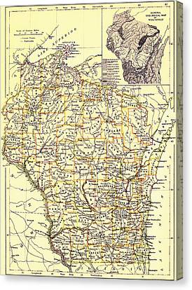 Vintage Map Of Wisconsin 1888 Canvas Print by Mountain Dreams
