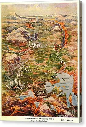 Vintage Map Of Yellowstone National Park Canvas Print by Edward Fielding