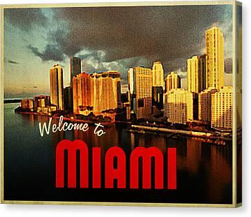 Vintage Miami Florida Skyline Canvas Print by Flo Karp
