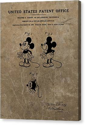 Vintage Mickey Mouse Patent Canvas Print by Dan Sproul
