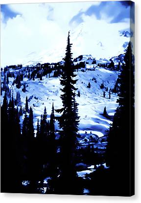 Vintage Mount Rainier With Camp Grounds In The Distance Early 1900 Era... Canvas Print by Eddie Eastwood