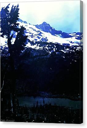 Vintage Mount Rainier With Reflexion Lake Early 1900 Era... Canvas Print by Eddie Eastwood