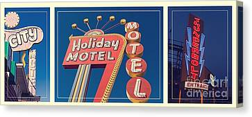 Vintage Neon Signs Trio Canvas Print by Edward Fielding