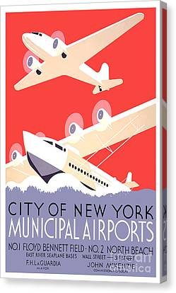 Vintage New York Travel Poster Canvas Print by Jon Neidert