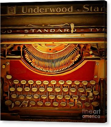 Vintage Nostalgic Typewriter 20150228v2 Square Canvas Print by Wingsdomain Art and Photography