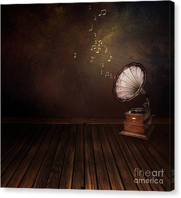 Vintage Phonograph On Art Abstract Background Canvas Print by Mythja  Photography