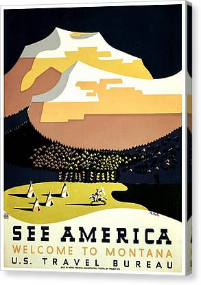 Vintage Poster - Montana Canvas Print by Benjamin Yeager