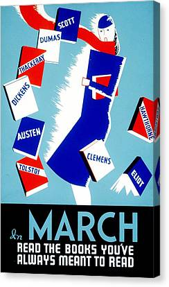 Vintage Poster - Reading - March Canvas Print by Benjamin Yeager